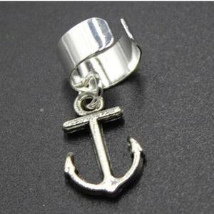 Silver ANCHOR Ear Cuff Earring